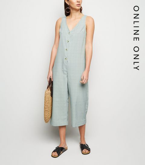 0da5dc2d66 ... Mint Check Button Up Crop Jumpsuit ...