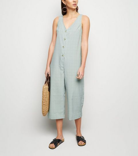 99f5d09a18e ... Mint Check Button Up Crop Jumpsuit ...