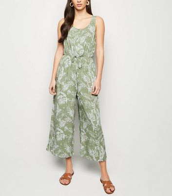 Green Leaf Print Button Up Jumpsuit