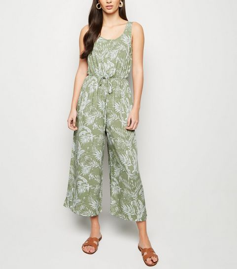 88eec2c05b ... Green Leaf Print Button Up Crop Jumpsuit ...