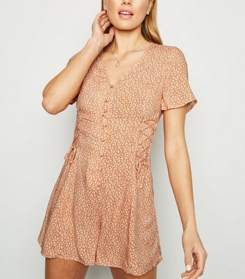 Orange Ditsy Floral Lattice Tea Playsuit
