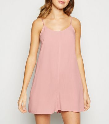 Pink Strappy Woven Playsuit