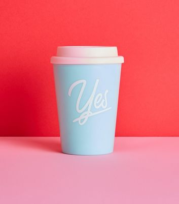 Blue Yes Slogan Travel Mug
