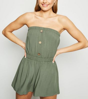 Khaki Button Front Bandeau Playsuit