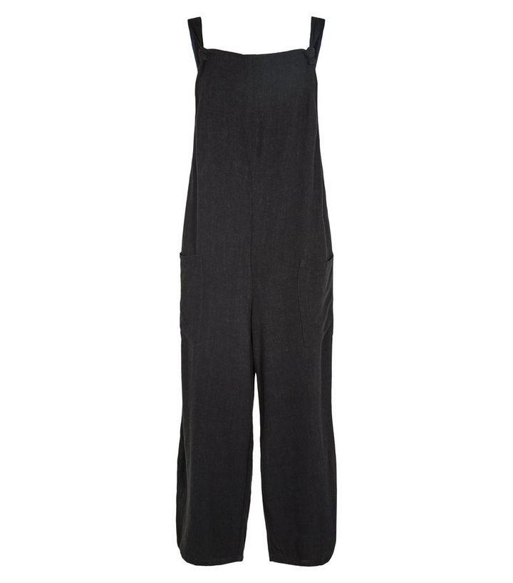 33fee575ee53 ... Black Linen Look Tie Strap Dungaree Jumpsuit. ×. ×. ×. Shop the look
