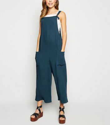 Blue Linen Look Tie Strap Dungaree Jumpsuit