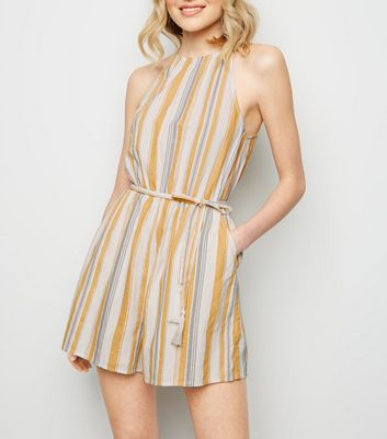 Off White Stripe Linen Blend Playsuit