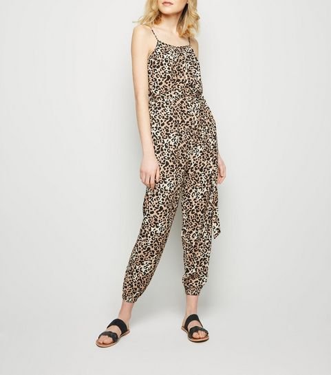 631cb5eb5d ... Brown Leopard Print Square Neck Jumpsuit ...