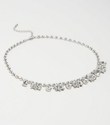 Silver Gem Embellished Necklace
