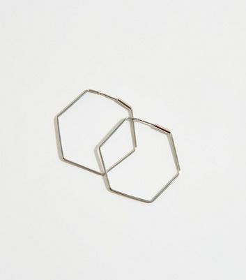 Silver Hexagon Skinny Hoop Earrings by New Look