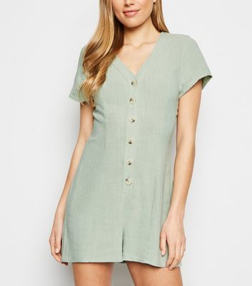 Mint Green Linen Look Button Up Playsuit