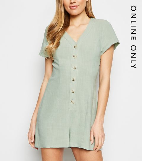 f18a8c2b0c ... Mint Green Linen Look Button Up Playsuit ...