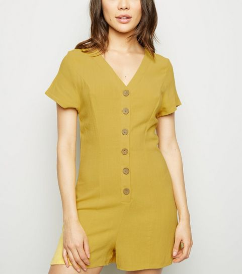 94ad55916a7dd9 ... Yellow Linen Look Button Up Playsuit ...