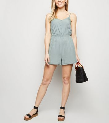 Mint Green Strappy Button Front Playsuit