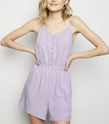 Lilac Strappy Button Front Playsuit