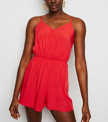 Red Strappy Button Front Playsuit