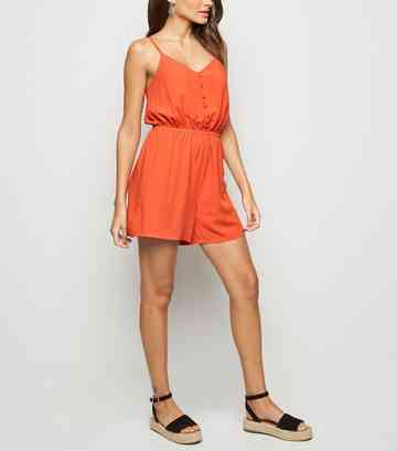 Bright Orange Strappy Button Front Playsuit