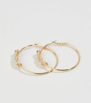 Gold Diamanté Snake Front Hoop Earrings