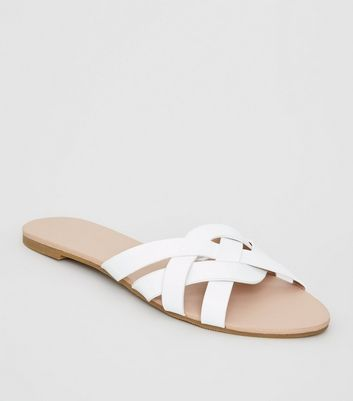 White Leather-Look Woven Strap Sliders
