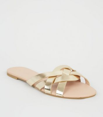 Gold Leather-Look Woven Strap Sliders