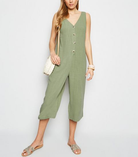 268ebe35e693 ... Khaki Linen Look Button Front Crop Jumpsuit ...