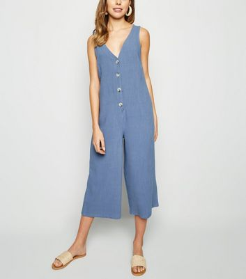 Blue Linen Look Button Front Crop Jumpsuit