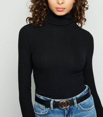 Black Skinny Ribbed Roll Neck Top