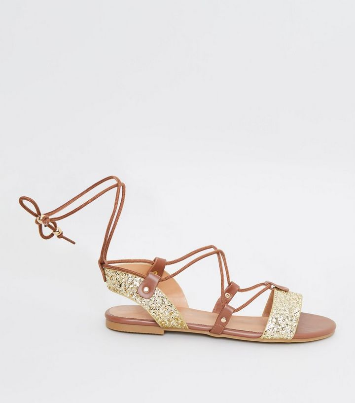 fe3d6f2714f Gold Glitter Ankle Tie Ghillie Flat Sandals