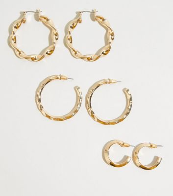 3 Pack Gold Twist Hoop Earrings