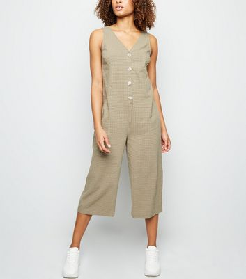 Green Grid Print Button Through Jumpsuit