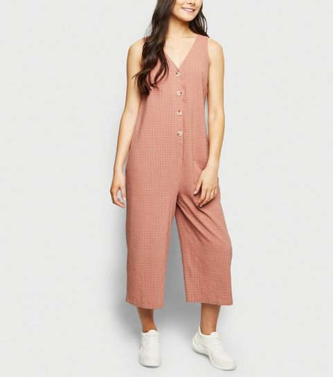 e1e162a421 ... Pink Grid Check Button Front Jumpsuit ...