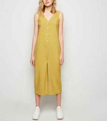 Mustard Grid Check Button Front Jumpsuit