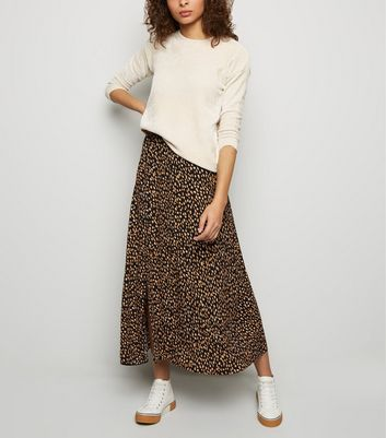 Tall Black Abstract Spot Midi Skirt