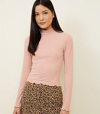 Pale Pink Ribbed Frill Hem Top