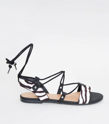 Black Zebra Print Ankle Tie Ghillie Sandals