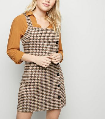 Petite Brown Houndstooth Button Side Pinafore Dress