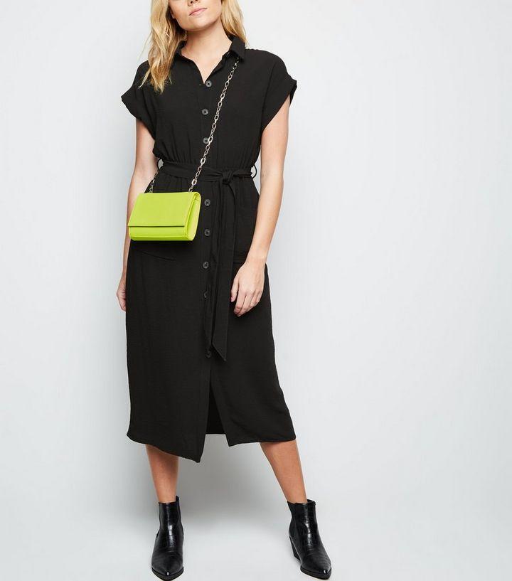 ce287db5304 Black Short Sleeve Midi Shirt Dress | New Look