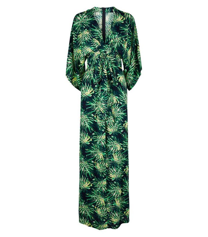 c8e1cc131b7d Blue Vanilla Green Tropical Leaf Kimono Dress | New Look