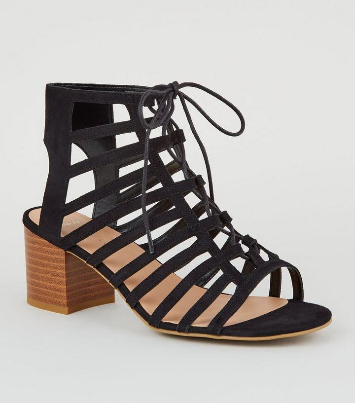 63f3e9df6e4 Wide Fit Black Strappy Lace-Up Ghillie Block Heels