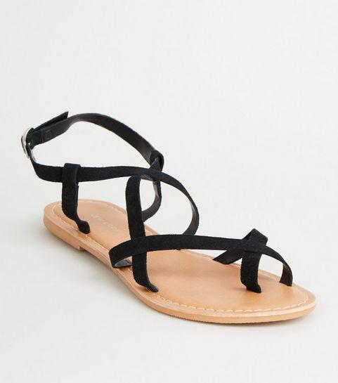 1f6bf85d89d94 ... Black Suede Multi Strap Flat Sandals ...
