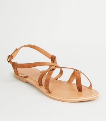 Tan Suede Multi Strap Flat Sandals