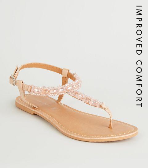 a421335ec71 ... Pink Gem Strap Flat Sandals ...