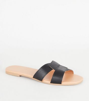 Black Faux Croc Interlocked Strap Sliders