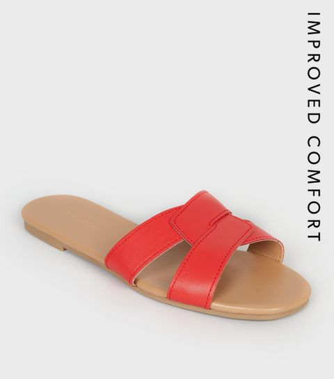 9591d6bef2c86d ... Red Leather-Look Interlocked Strap Sliders ...
