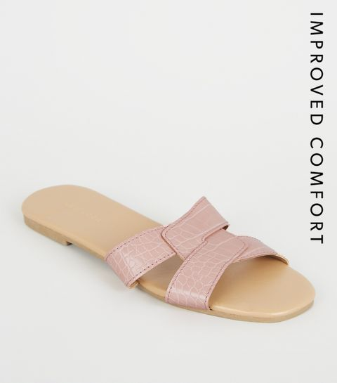 99cb7ec276b ... Pink Faux Croc Interlocked Strap Sliders ...