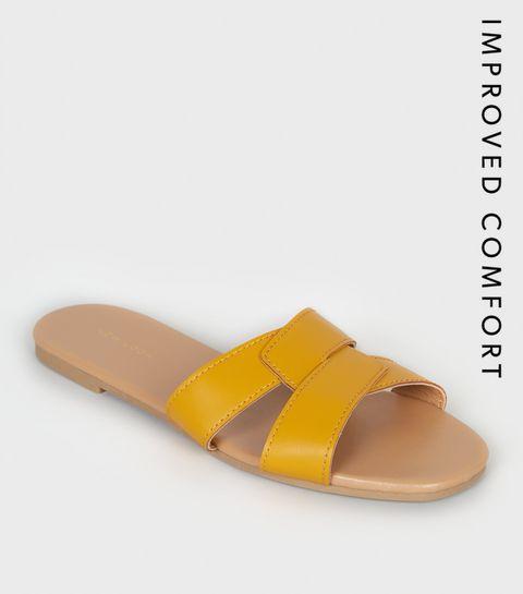 918691953e6f ... Mustard Leather-Look Interlocked Strap Sliders ...