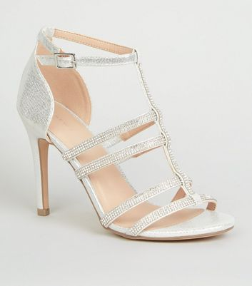 Silver Diamanté Gladiator Stiletto Heels
