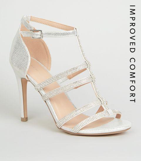 9a3848fb760 Silver Diamanté Gladiator Stiletto Heels · Silver Diamanté Gladiator  Stiletto Heels ...