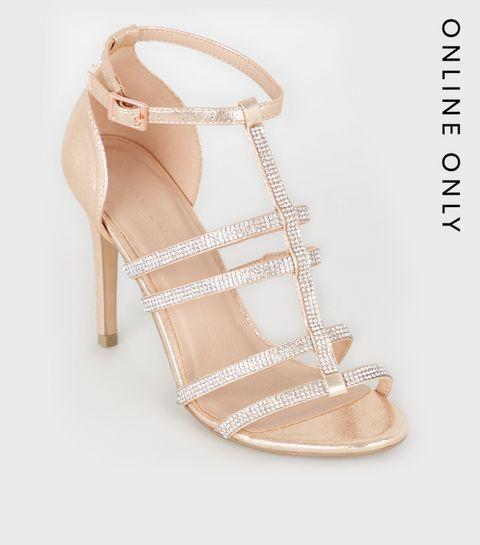 de25c050dce ... Rose Gold Diamanté Gladiator Stiletto Heels ...