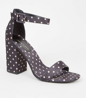Black Spot Satin Block Heel Sandals